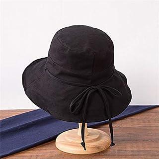 KLNOC Sombrero para El Sol Algodón Lino Bowknot Sombrero para El Sol Mujer Verano Color Sólido Ancho Ancho Arco Plegable Sol Sombreros De Playa Viseras De Otoño Sombrero Anti-UV para Mujer