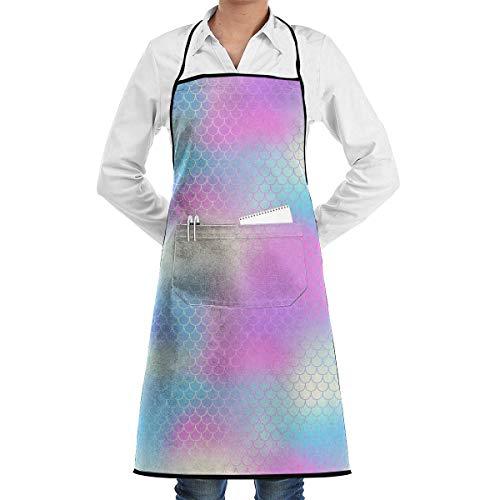 Meerjungfrau mit Fischschuppen Bunte Netzfliesen Schürze mit Taschen für Grill BBQ Küche Kochen Künstler Malerei Männer und Frauen