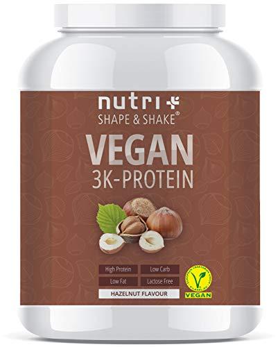PROTEINPULVER VEGAN Haselnuss 1kg - 83,5% Eiweiß - Shape & Shake 3k-Protein Powder Hazelnut Flavor - Nutri-Plus Veganes Eiweißpulver ohne Lactose, Milch & Whey - Nuss Geschmack