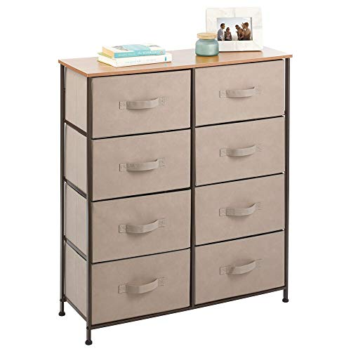 mDesign Vertical Dresser Storage Tower - Sturdy Steel Frame Wood Top Easy Pull Fabric Bins - Organizer Unit for Bedroom Hallway Entryway Closets - Textured Print - 8 Drawers - CoffeeEspresso