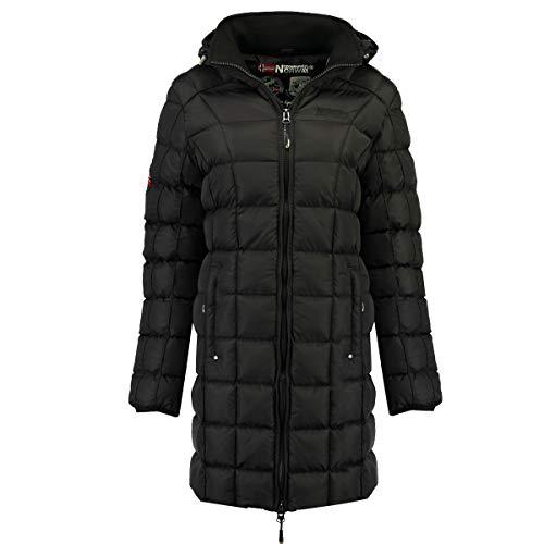 Geographical Norway Babette Parka - Abrigo Largo para Mujer con Capucha Desmontable Negro 38