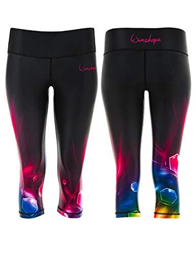 WINSHAPE Damen Functional Power Shape 3/4-Tights Leggings Anti-Rutsch AEL202 Cosmic, Slim Style, Fitness Freizeit Sport Yoga Workout, M