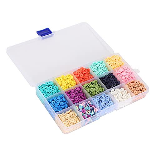 Cuentas planas para hacer joyas, cuentas planas duraderas perfectamente combinadas 14 colores para hacer joyas para collares para hacer accesorios