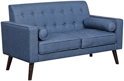Best Container Furniture Direct Valadez Linen Upholstered Tufted Mid-Century Modern Loveseat with Bolster