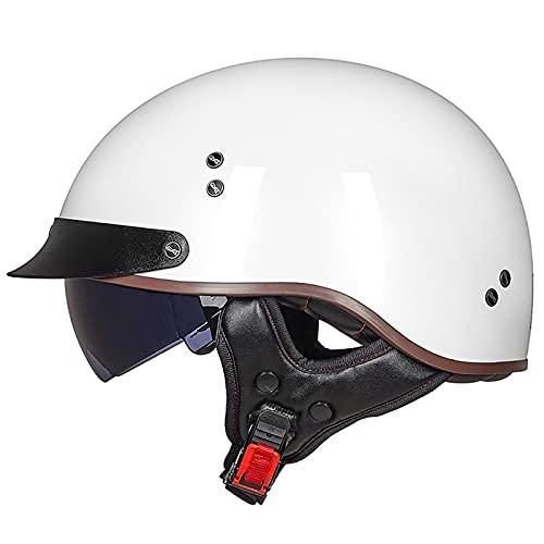 Casco Moto Abierto Hombre Mujer, Retro ECE Homologado Cascos Moto Half Helmet con Visera, Casco Moto Jet para Scooter Mofa Crash (Color : J, Size : (L/59-60CM))