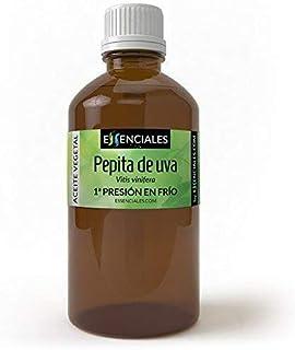 Essenciales - Aceite Vegetal de Pepita de Uva 100% Puro y Natural, 100 ml | Aceite Vegetal Vitis Vinifera, 1ª Presión Frío