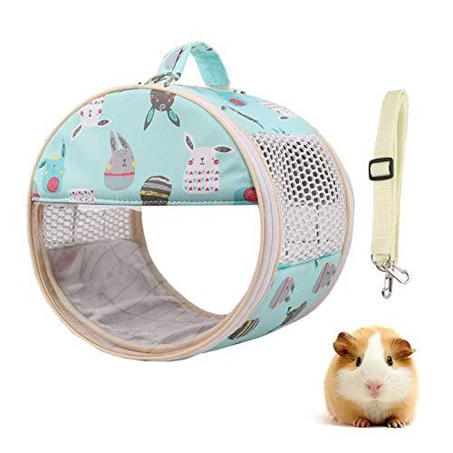 X-zoo Kleintier Tragetasche, Handtaschen Hamster Portable Reißverschluss Ausgehenden Reise mit Schulterriemen, Transparentes Fenster, Mesh atmungsaktive Löcher, Verdickter Boden