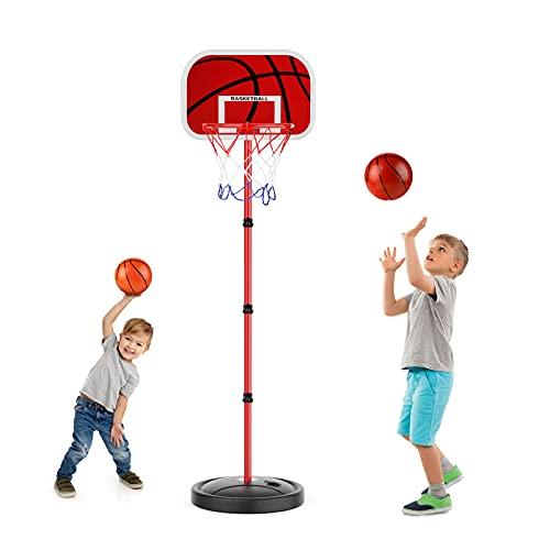 EXTSUD Basketballständer für Kinder, höhenverstellbare basketballkorb, 150CM Basketballbrett mit Basketball Netz Set, Outdoor- und Indoor-Basketballkorb Spielset für Kinder 3+ Spielzeug Geschenk