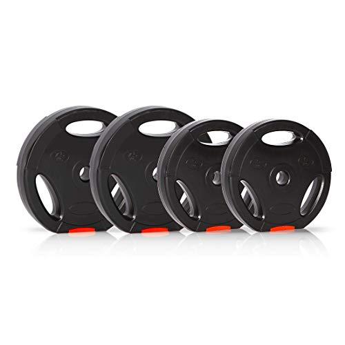 Ultrasport Discos de pesas, juego de 4 pesas, 2 de 5 kg, 2 de 7.5 kg, agujero estándar de 30 mm, aptos para barras cortas y largas, con asas para entrenamiento con peso libre, Negro