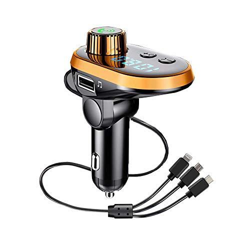 CUIJU Reproductor de mp3 para Coche con Bluetooth Cargador de Coche USB 3.1A Cargador de Coche USB rápido Adaptador de Coche de 3 Puertos (Naranja)