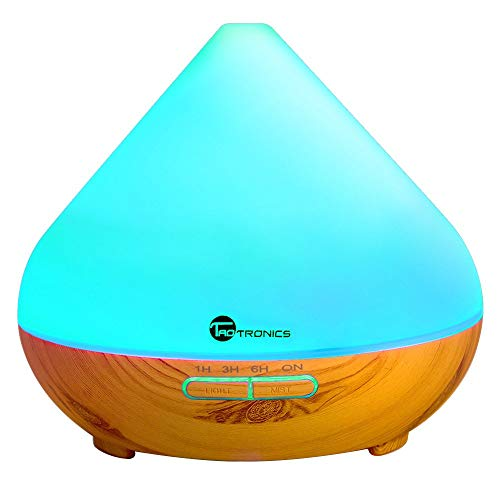 Diffusers for Essential Oils, TaoTronics 300ml Ultrasonic Humidifiers with Wood Grain, Cool Mist...