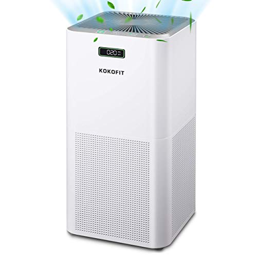 Kokofit Air Purifiers for Large Room with CADR 320 & H13 True HEPA Filter, Covers 720 Sq Ft Home, Quiet Air Cleaner Eliminates 99.97% Odors Allergies Pets Hair Mold Pollen Smoke Dust in Bedroom, White