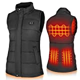 Dillitop Electric Heated Vest Unisex Washable USB Rechargeable Heated Waistcoat Winter Body Warmer Jacket Heated Gilet Coat for Outdoor Activities Men/Women Black (Power Bank Not Included) (L/XL)