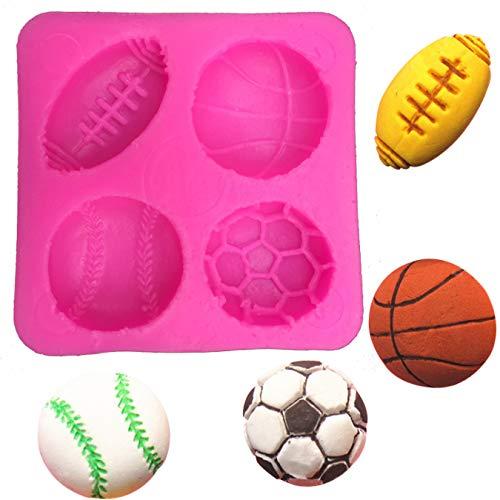 FEJK Fußball Basketball Tennis Fondant Silikonform Für Küche Schokolade Gebäck Süßigkeiten Herstellung Cupcake Dekoration Werkzeuge 5,7 * 5,7 * 1,2 cm