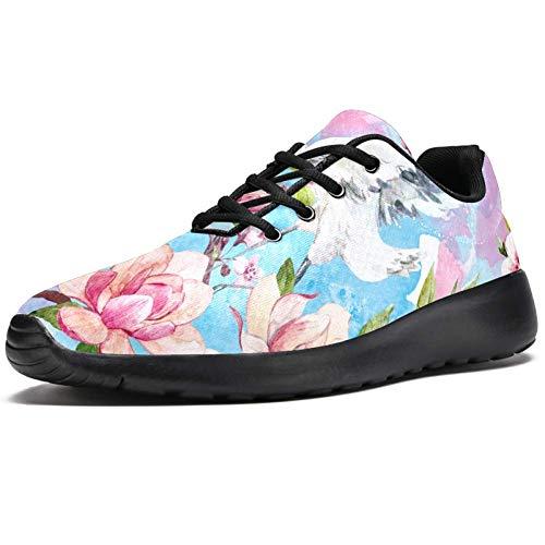 TIZORAX Sport-Laufschuhe für Damen, Crane On Blossom Cherry Branch Fashion Sneakers Mesh Atmungsaktiv Wandern Tennis Schuh, Mehrfarbig - mehrfarbig - Größe: 37.5 EU