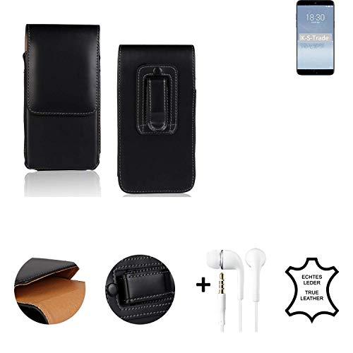 K-S-Trade® Leder Gürtel Tasche + Kopfhörer Für Meizu 15 Plus Seitentasche Belt Pouch Holster Handy-Hülle Gürteltasche Schutz-Hülle Etui Schwarz 1x