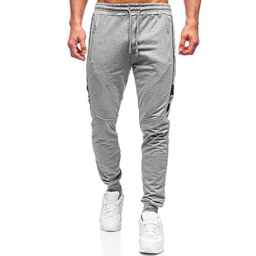 HANJIAJKL Pantalones Deportivos Hombre,Pantalones de Chándal Pantalones de Entrenamiento Casuales para Correr con Bolsillos,Gris,XL