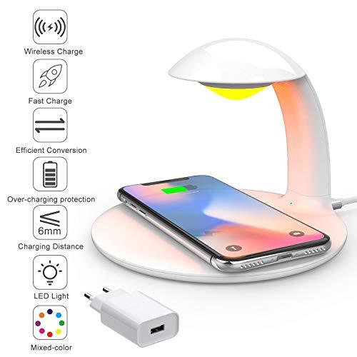 HLF Lámpara de cabecera LED regulable con cargador inalámbrico, lámpara de mesa de control táctil, estación de carga Qi de 10W para Samsung / iPhone / HUAWEI (con adaptador QC 3.0)