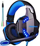 Cascos Auriculares Gaming con Micrófono, Cascos PS4 Auricular Gamer Juegos Gaming Headset con Estéreo LED y USB Diadema Ajustable Jack 3,5mm para Xbox One PC Tableta Laptop Switch Playstation (Azul)