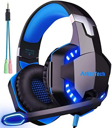 Cascos Auriculares Gaming con Micrófono, Cascos PS4 Auricular Gamer Juegos Gaming Headset con Estéreo LED y USB Diadema Ajustable Jack 3,5mm para Xbox One PC Tableta Laptop Switch Playstation (Azul)