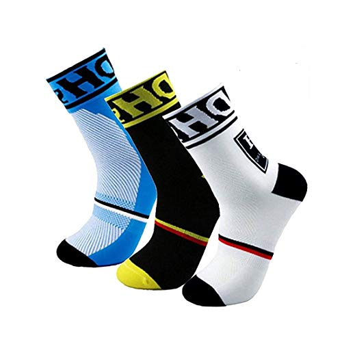 HD SPORTS Men's Cycling Socks,Breathable Cushioned Athletic Crew Socks for Cycling Trekking Skiing Tracing | High Performance Arch Compression Cushioned Quarter Socks Size 6-11 (3 Pairs)