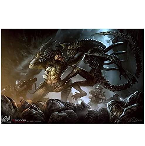 qinminsru Alien vs Depredator Artwork Art Classic Poster Prints On Canvas 50x70cmx1 Sin marco