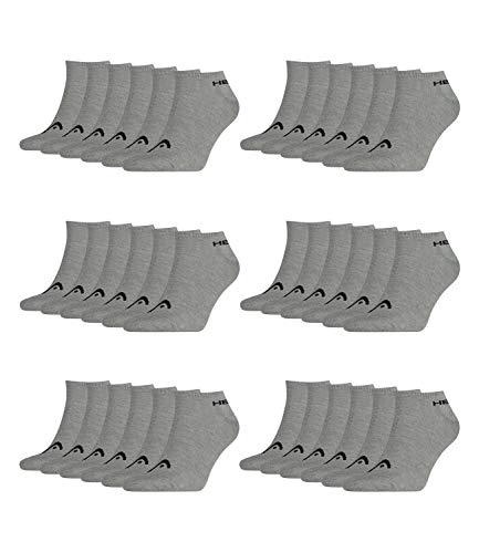 HEAD Unisex Sneaker Sportsocken 18er Pack, Größe:39-42;Farbe:Grey (400)