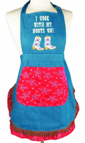 Manual Southern Sassy Word Apron, I Cook with My Boots On, 27 X 19-Inch