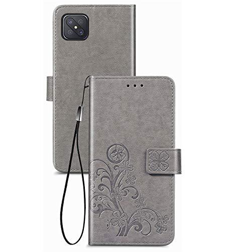 JIAFEI Hülle für Oppo Reno 4Z (5G), Premium PU Leder Schönes Muster Brieftasche stoßfeste Handyhülle, Grau