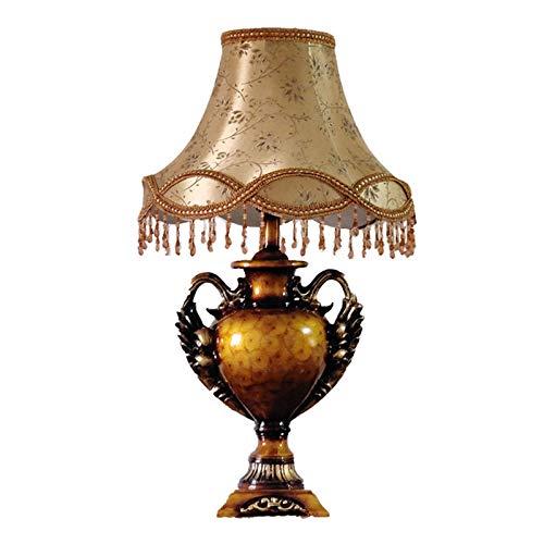 SKYHY224 Lámpara de Escritorio Lámpara de Mesa Retro Europea, lámpara de Mesa de decoración del hogar, iluminación de Lectura Junto a la Cama con Pantalla de Tela, Sala de Estar, Dormitorio Familiar,