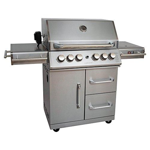 Mayer Barbecue ZUNDA Gasgrill MGG-342 Master mit Backburner u. Seitenbrenner Grillstation, 100% Edelstahl, Grillfläche 70 x 45 cm, inkl. Drehspieß (220 V) u. Schutzhülle