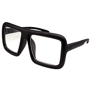 Thick Square Frame Clear Lens Glasses Eyeglasses Super Oversized Fashion and Costume - Matte Black