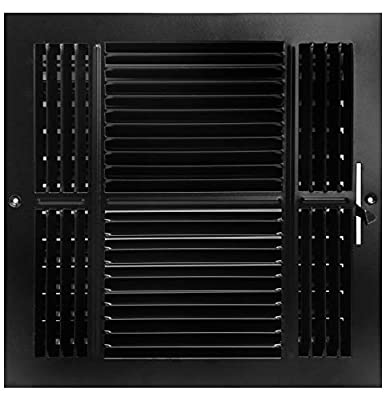 """8"""" X 8"""" 4-Way AIR Supply Grille - Vent Cover & Diffuser - Flat Stamped Face - Black [Outer Dimensions: 9.75""""w X 9.75""""h]"""