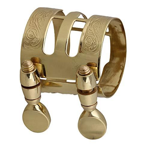 Yibuy Gold Plated Double Screws Alto Saxophone Mouthpiece Ligature