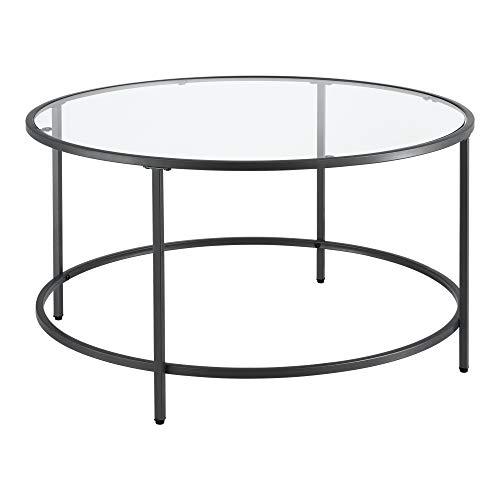 Soffbord med Glasskiva Stål Rund Svart Ø84x45,5cm
