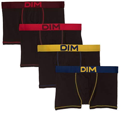 Dim BOXER MIX AND COLORS X4, Multicolore (Noir Ct Jaune Safran/Noir Ct Bleu Marin/Noir Ct Rouge Baie/Noir Ct Aubergine Foncé 88r), Medium (Taille fabricant:3) (lot de 4) Homme
