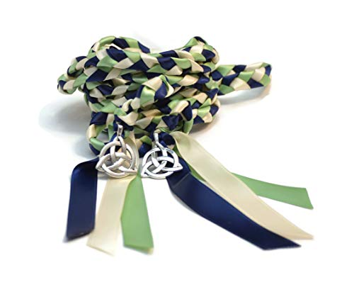 Divinity Braid Navy Sage Celtic Triquetra Wedding Handfasting Cord #Wedding #WeddingCeremony #Celtic #Handfasting #HandfastingCord #CelticWedding #CelticKnot