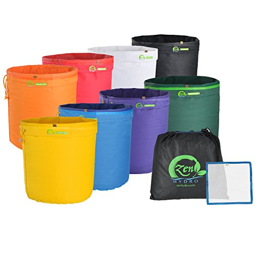 iPower GLBBAG5X8 5 Gallon 8 Set Herbal Ice Essence Extraction Bubble Hash Kit with Free Press Screen and Storage, 8 Bags, Multi Color