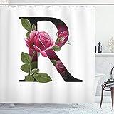 ABAKUHAUS Buchstabe R Duschvorhang, Blume der Liebe Rose R, mit 12 Ringe Set Wasserdicht Stielvoll Modern Farbfest & Schimmel Resistent, 175x200 cm, Weiß Grün Rosa