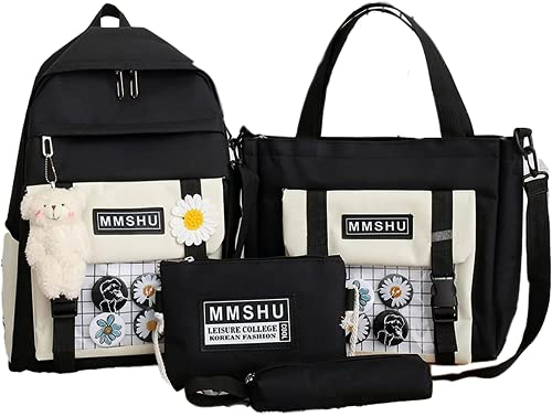 4 unidades mochila escolar bolsa de libro conjunto Kawaii oso de peluche colgante lona combo chica Tote Crossbody Daisy adolescente lápiz caso bolsa, Negro, Large