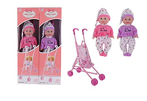 Little Bambino First Baby Doll and Pram Soft Doll Stroller Set Pink Purple Buggy Stroller Kids Childrens Toys Baby Girls & Boys Baby Doll Pram Accessories Push Along Toy Doll Pushchair