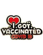 Scdom Pin de Vacunación de Covid, Botones de Pin de COVID Monedas Conmemorativas de 2021 Me Vacuné Pin de Solapa de Esmalte de Alerta Médica Creativa Para Bata de Laboratorio, Chaqueta, Mochila y así