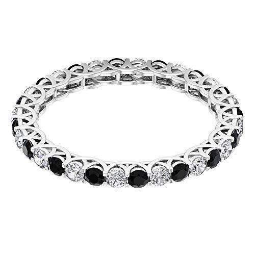 Anillo de eternidad de ónix negro de 2 mm, anillo de compromiso de diamantes HI-SI para mujeres, anillo de banda de oro macizo, anillo de desgaste de fiesta, 18K Oro blanco, Size:EU 58