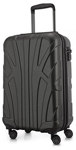 Suitline Handgepäck Hartschalen-Koffer Koffer Trolley Rollkoffer Reisekoffer, TSA, 55 cm, ca. 34 Liter, 100% ABS Matt, Graphite/Grau
