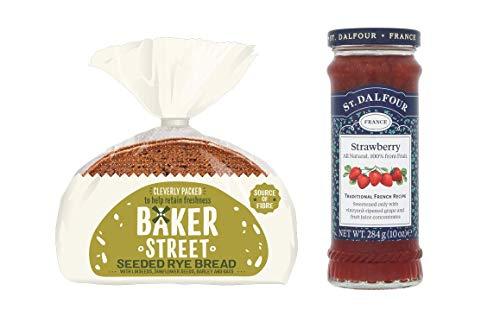 Baker Street Pan semillado de centeno 1 unidad (500 g) y fresa St. Dalfour Spread Pack de 1 (284 g)