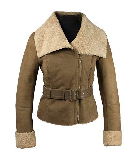 TUZZI Damen-Shearling Lammfell Jacke mit Gürtel (S, Gold)