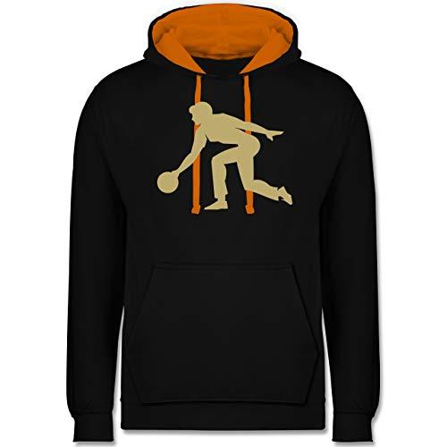 Bowling & Kegeln - Keglerin - L - Schwarz/Orange - Mensch - JH003 - Hoodie zweifarbig und Kapuzenpullover für Herren und Damen