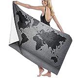 Grande Suave Ligero Toalla de Baño Manta,Mapa del Mundo de Color Negro en continentes e Islas de Muro de hormigón,Hoja de Baño Toalla de Playa por la Familia Hotel Viaje Nadando Deportes,52' x 32'