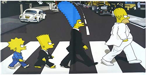 Quadro Decorativo Os Simpsons The Beatles Em Tecido 50 cmx 1m