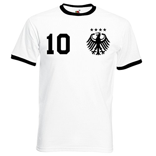 WM Deutschland Herren T-Shirt mit Wunschname & Zahl, Weiß, Gr. S